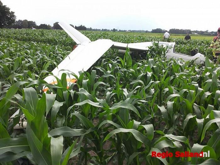 Zweefvliegtuig gecrashed in maïsveld bij Dalmsholte - Foto: Voorbijganger