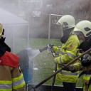 Brandje bij prullenbak naast keet in Zwolle-Zuid