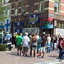 Gemoedelijke sfeer bij ludiek protest PEC-supporters